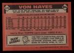 1986 Topps #420  Von Hayes  Back Thumbnail