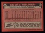 1986 Topps #544  Eddie Milner  Back Thumbnail
