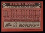 1986 Topps #605  Dennis Boyd  Back Thumbnail