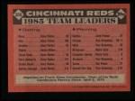 1986 Topps #366   Reds Leaders Back Thumbnail