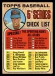 1968 Topps #356 RT  -  Ken Holtzman Checklist 5 Front Thumbnail