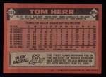 1986 Topps #550  Tom Herr  Back Thumbnail