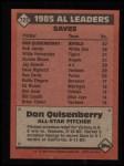 1986 Topps #722   -  Dan Quisenberry All-Star Back Thumbnail