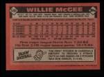 1986 Topps #580  Willie McGee  Back Thumbnail