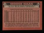 1986 Topps #759  Moose Haas  Back Thumbnail