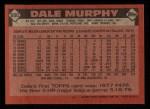 1986 Topps #600  Dale Murphy  Back Thumbnail