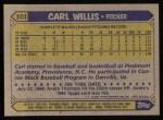 1987 Topps #101  Carl Willis  Back Thumbnail