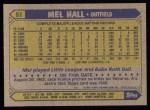 1987 Topps #51  Mel Hall  Back Thumbnail