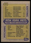 1987 Topps #331   -  Darryl Strawberry / Gary Carter Mets Leaders / Carter / Straw Back Thumbnail