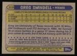 1987 Topps #319  Greg Swindell  Back Thumbnail