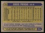 1987 Topps #761  Greg Pryor  Back Thumbnail