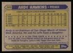 1987 Topps #183  Andy Hawkins  Back Thumbnail