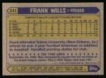 1987 Topps #551  Frank Wills  Back Thumbnail