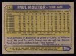 1987 Topps #741  Paul Molitor  Back Thumbnail