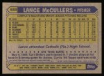 1987 Topps #559  Lance McCullers  Back Thumbnail