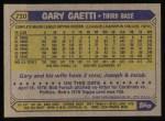 1987 Topps #710  Gary Gaetti  Back Thumbnail