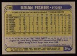 1987 Topps #316  Brian Fisher  Back Thumbnail