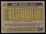 1987 Topps #352  Mike Felder  Back Thumbnail
