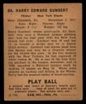 1940 Play Ball #86  Harry Gumpert  Back Thumbnail