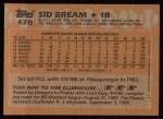 1988 Topps #478  Sid Bream  Back Thumbnail