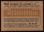 1988 Topps #279  Randy St.Claire  Back Thumbnail