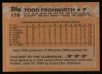 1988 Topps #378  Todd Frohwirth  Back Thumbnail