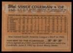 1988 Topps #260  Vince Coleman  Back Thumbnail