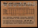 1988 Topps #91  Joey Cora  Back Thumbnail