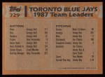 1988 Topps #729   -  George Bell / Fred McGriff Blue Jays Leaders Back Thumbnail