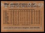 1988 Topps #117  James Steels  Back Thumbnail