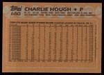 1988 Topps #680  Charlie Hough  Back Thumbnail