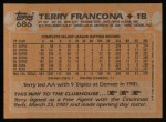 1988 Topps #686  Terry Francona  Back Thumbnail
