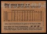 1988 Topps #270  Mike Witt  Back Thumbnail