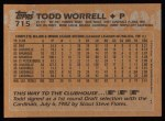 1988 Topps #715  Todd Worrell  Back Thumbnail