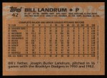 1988 Topps #42  Bill Landrum  Back Thumbnail
