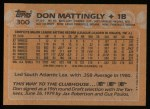 1988 Topps #300  Don Mattingly  Back Thumbnail