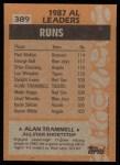 1988 Topps #389   -  Alan Trammell All-Star Back Thumbnail