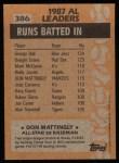 1988 Topps #386   -  Don Mattingly All-Star Back Thumbnail