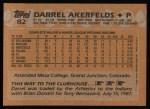 1988 Topps #82  Darrel Akerfelds  Back Thumbnail