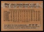 1988 Topps #562  Jim Lindeman  Back Thumbnail