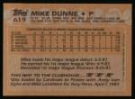 1988 Topps #619  Mike Dunne  Back Thumbnail