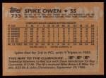 1988 Topps #733  Spike Owen  Back Thumbnail