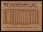1988 Topps #770  Lou Whitaker  Back Thumbnail