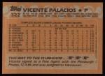 1988 Topps #322  Vicente Palacios  Back Thumbnail