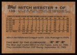 1988 Topps #138  Mitch Webster  Back Thumbnail