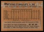 1988 Topps #77  Tom O'Malley  Back Thumbnail