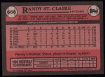 1989 Topps #666  Randy St.Claire  Back Thumbnail