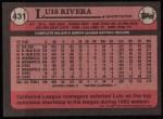 1989 Topps #431  Luis Rivera  Back Thumbnail