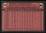 1989 Topps #285  John Candelaria  Back Thumbnail