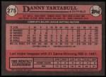 1989 Topps #275   -  Danny Tartabull Record Breaker Back Thumbnail